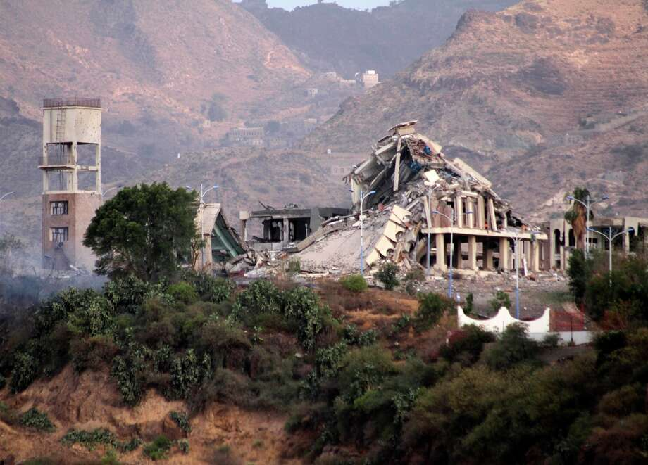 "Saudi-led coalition air strikes against Yemen's Houthi rebels destroyed  the Republican Palace in Taiz, the country's second-largest city. Photo: TAHA SALEH / AFP / Getty Images / all copyright to ali alshehri ""alix507"""