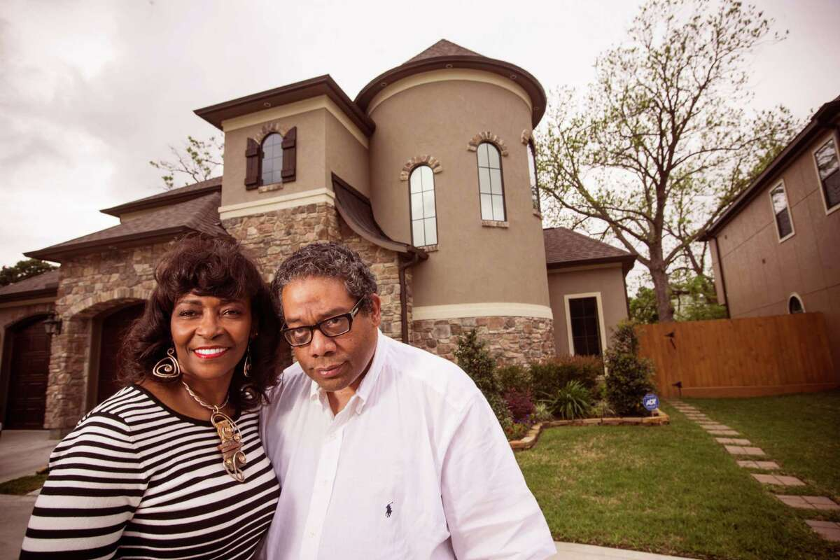 Edwin and Linda Harrison pose for a portrait at their year-old home in the 3300 block of Southmore on Monday, April 6, 2015, in Houston. Edwin Harrison grew up in the Third Ward and decided after years of living in the Galleria area to move back to his hold neighborhood. The home he grew up in is located a few blocks away.
