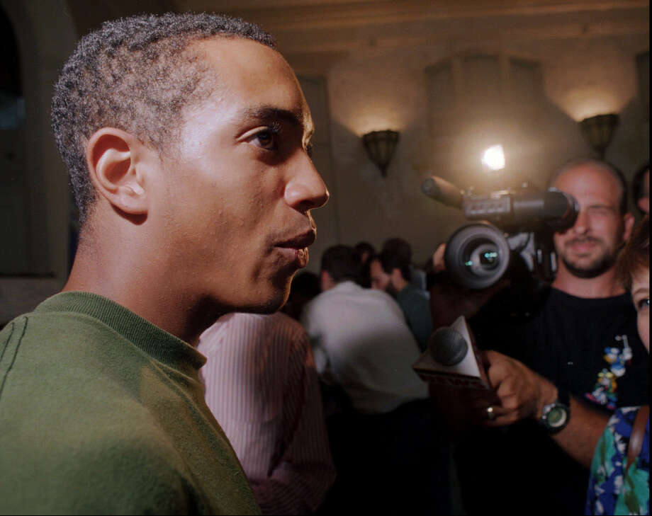 Milo Sheff speaks to the media at a news conference at Milner School in Hartford, Conn., Tuesday, July 9, 1996, after Connecticut's Supreme Court overturned a previous ruling on the Sheff vs. Wade school segregation case. Sheff, 17, was the lead plaintiff in the case, which was filed when he was 10 years old. The state Supreme  Court narrowly ruled Tuesday that the state is legally obligated to  integrate Hartford-area schools even though it did not intend to isolate  minorities. Photo: PATRICIA MCDONNELL, AP Photo/Patricia McDonnell / AP1996Associated Press