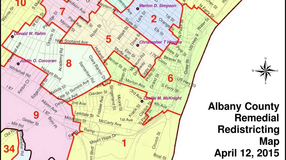 A map depicting the five majority-minority voting districts submitted by Albany County to a federal judge. (Source: Albany County)