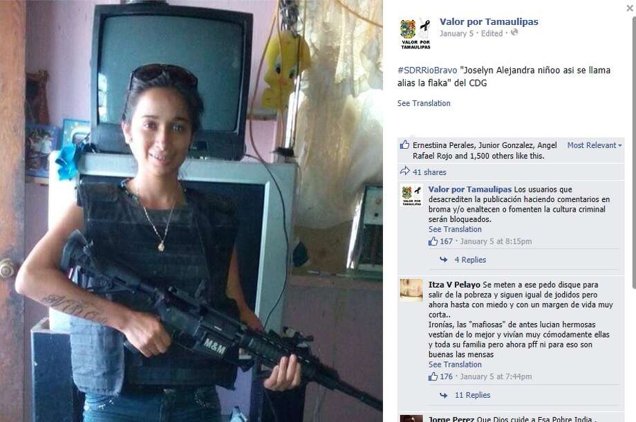 """Assassin, or sicaria, Joselyn Alejandra Niño, who went by the pseudonym """"La Flaka,"""" was found dismembered and stuffed in an ice chest Sunday in Matamoros. She was the third generation """"La Flaka"""" as the other two were arrested years prior. Read more. Photo: Facebook Screenshots"""