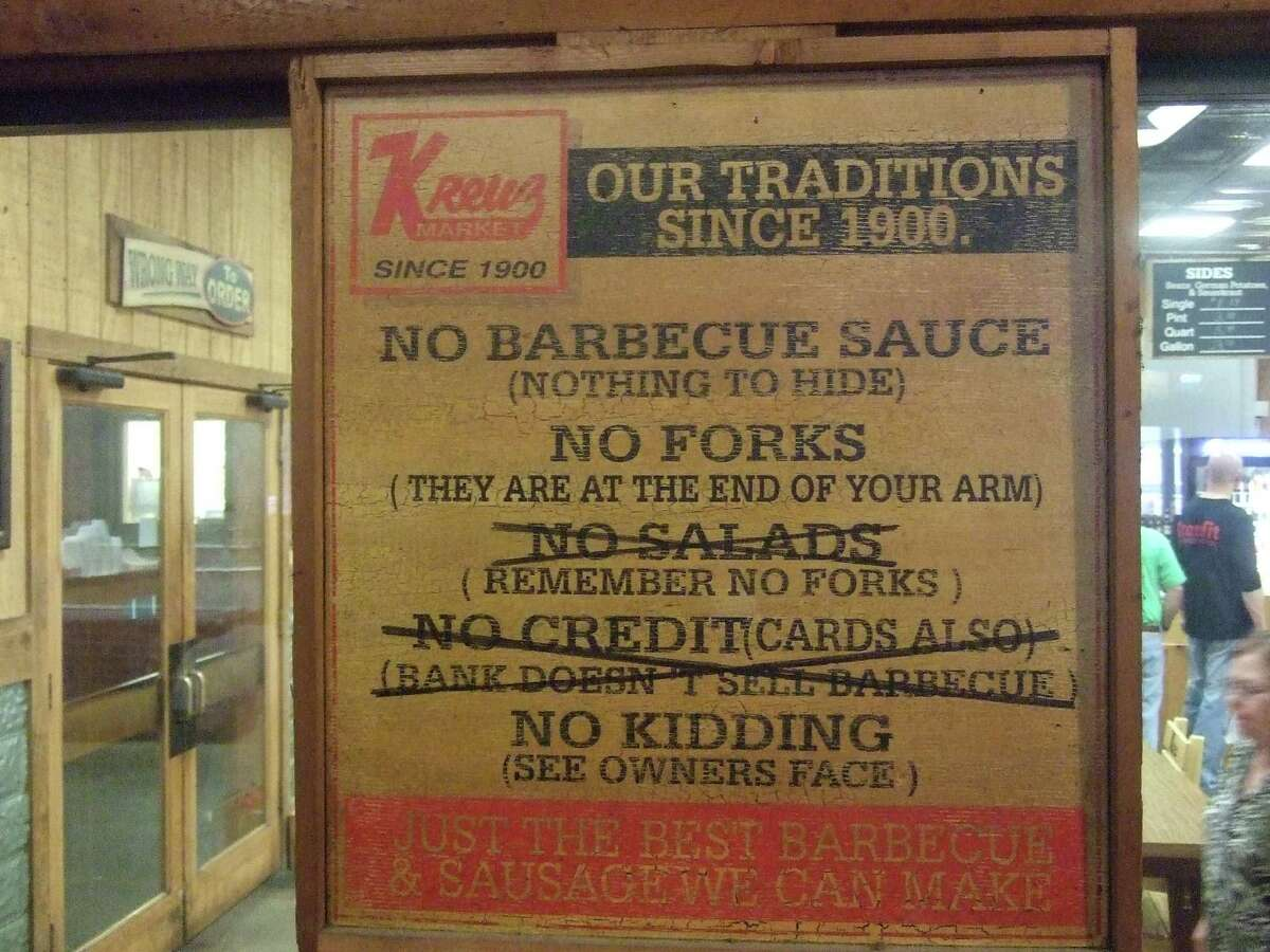A sign reminds customers that they keep things simple at Kreuz Market in Lockhart.
