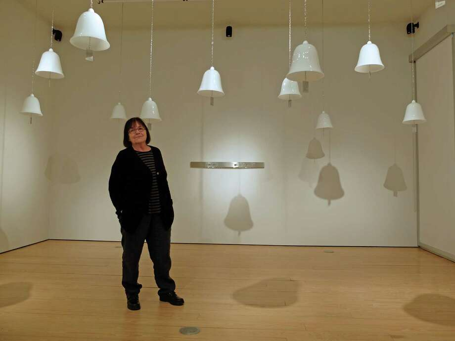 "Artist Marie Orensanz in her installation "" ... a path to share ... "" at the Sicardi Gallery Photo: Molly Glentzer"