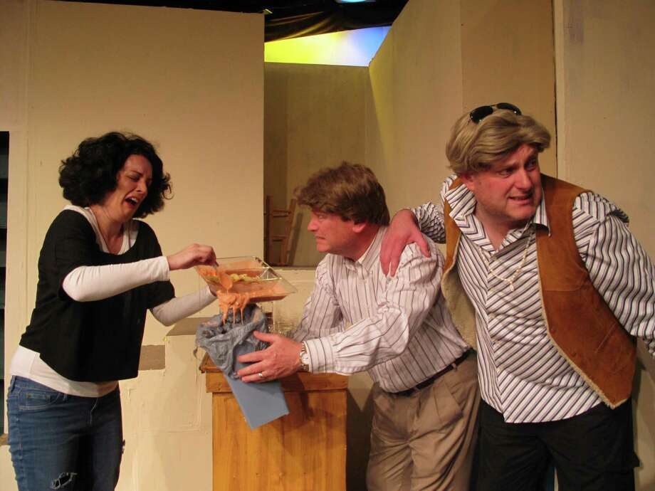 "The Circle Arts Theatre's staging of ""Making God Laugh"" stars Jennifer Brogren (from left), Greg McNamer and Craig Bridges as siblings. Photo: Courtesy Photo"