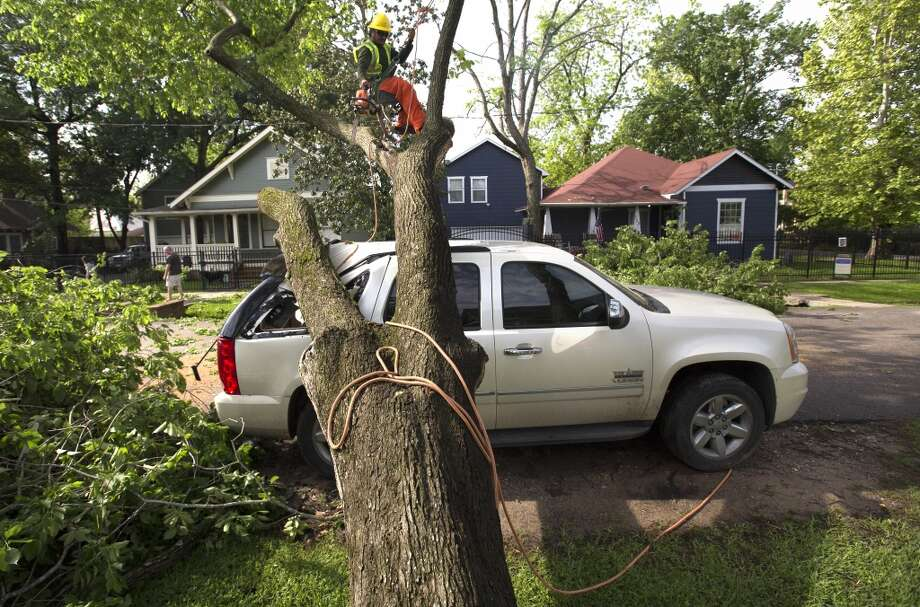 A crew with Trees Inc, removes portions of a tree after it fell on an SUV on 10th Street near Rutland, Friday, April 17, 2015, in Houston. (Cody Duty / Houston Chronicle) Photo: Houston Chronicle