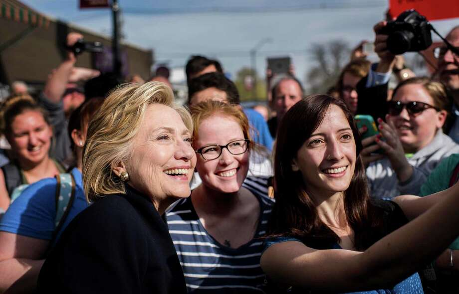 With crowds of supporters waiting for her, Hillary Clinton stopped at a coffee house in Mount Vernon, Iowa, on Tuesday. Her image is set in stone. Photo: Melina Mara /Washington Post / The Washington Post