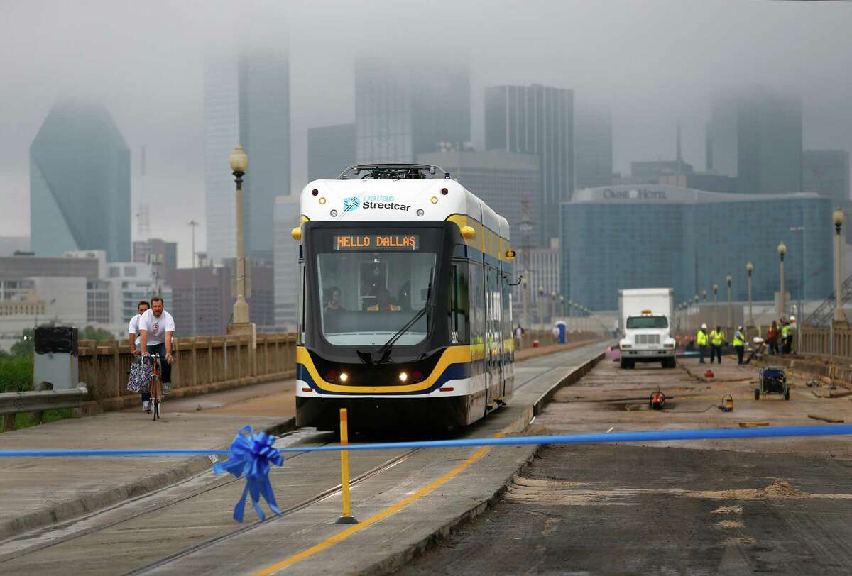 This file photo shows a DART streetcar in Dallas. San Antonians can give themselves a role in future light rail decisions on May 9.