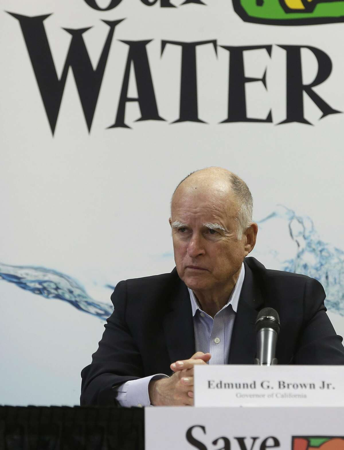 Gov. Jerry Brown at a drought-related press conference April 16.