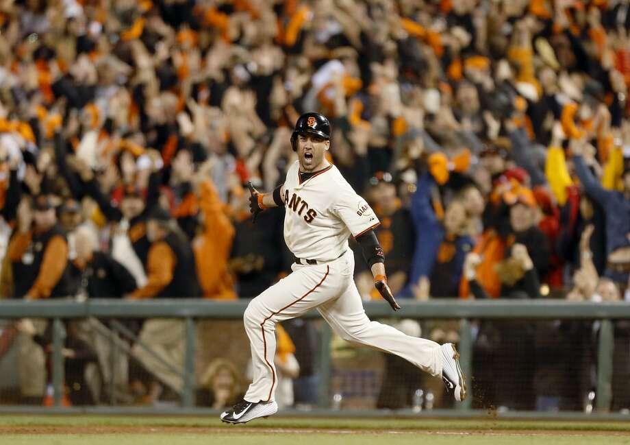 Travis Ishikawa celebrating his walk-off homerun to win NLCS Game 5 and take the Giants to the World Series. Photo: Beck Diefenbach