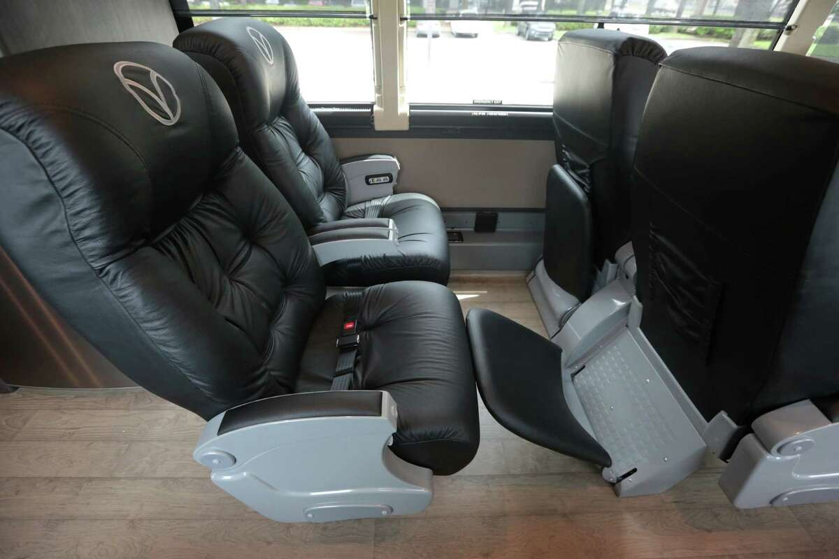 The leather interior of one of Vonlane's luxury buses, Tuesday, April 14, 2015, in Houston, Texas. Vonlane offers a first class motor coach experience. Vonlane's amenities are on board attendant and galley, free Wi-Fi, complimentary noise canceling headsets, satellite radio and television. Vonlane will start service Houston to Dallas Monday April 20, 2015.