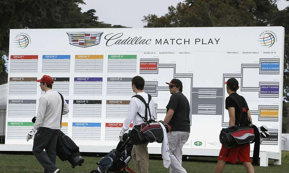 Golfers pass by a scoreboard which is in place and ready to go as the World Golf Championships come to TPC Harding Park in a few weeks, as seen on Fri. April 17, 2015, in San Francisco, Calif. Photo: Michael Macor, The Chronicle