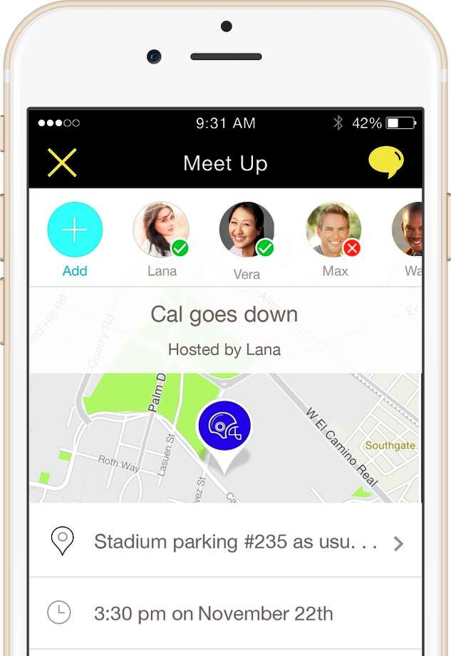 App of the Week: Screenshot of Telenav's Scout app, which combines nagivation, meeting organization and text messaging to let you plan a meet up with friends or colleagues. In this shot, the organizer is inviting friends to a football game. Photo: Telenav / ONLINE_YES