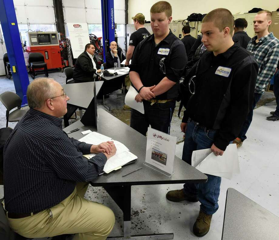 BOCES students speak withVic Kulpa of Hoffman's Car Washes about future employment Friday April 17, 2015 at the BOCES offices in Colonie, N.Y.  (Skip Dickstein/Times Union) Photo: SKIP DICKSTEIN / 00031456A