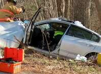 A crash along Route 32 is investigated in New Scotland on Friday, April 17, 2015. (Tom Heffernan Sr. / Special to the Times Union)