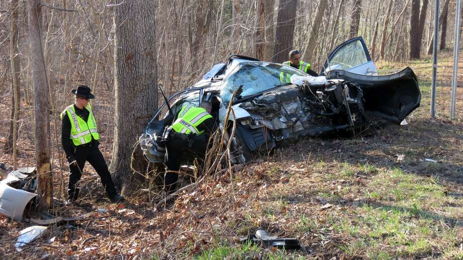 A crash along Route 32 is investigated in New Scotland on Friday, April 17, 2015. (Tom Heffernan Sr. / Special to the Times Union) Photo: Picasa