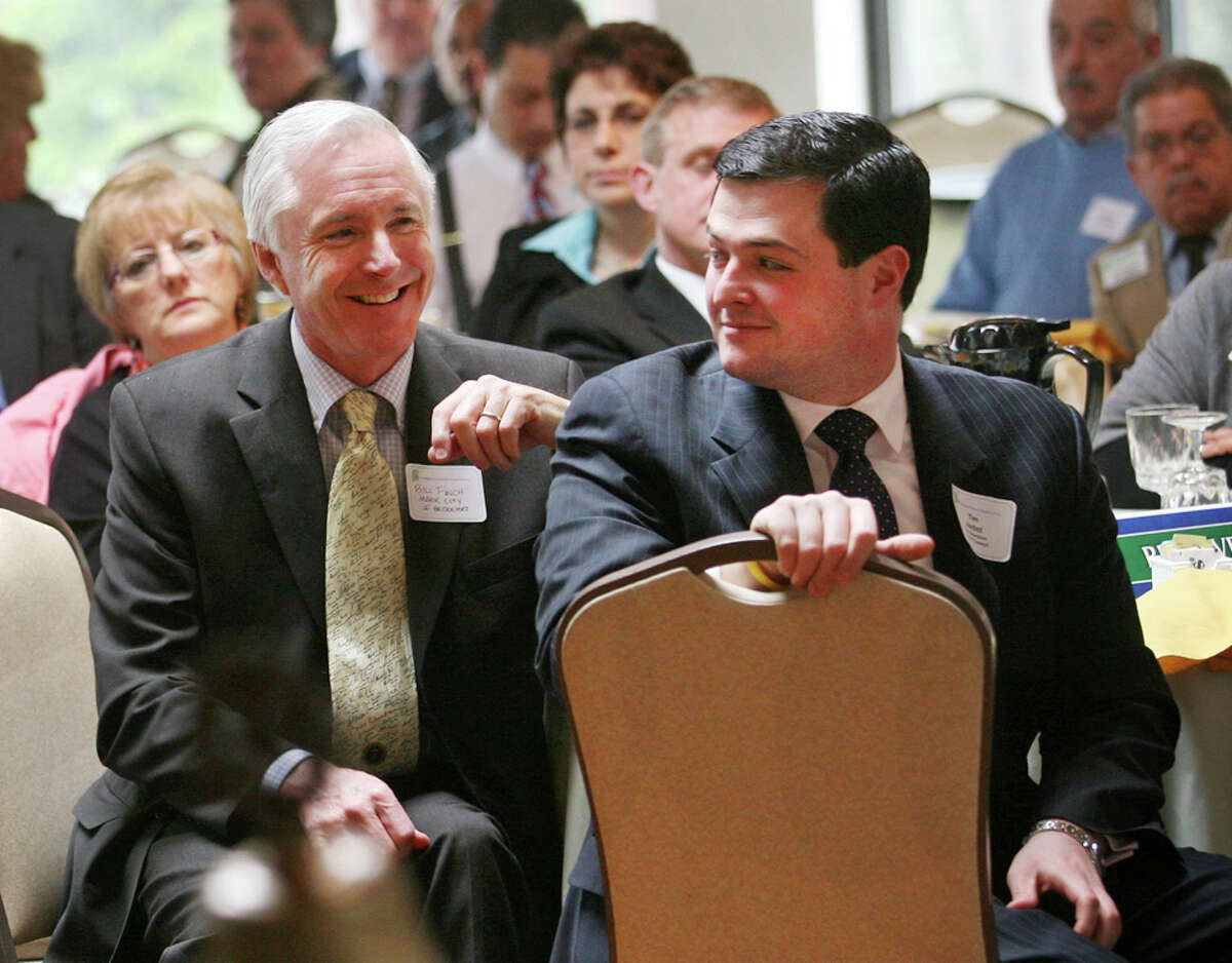 Trumbull First Selectman Tim Herbst has a tenuous relationship with next door Mayor Bill Finch of Bridgeport, seen together here at Stratford Mayor John Harkins' State of the Town address in 2010.