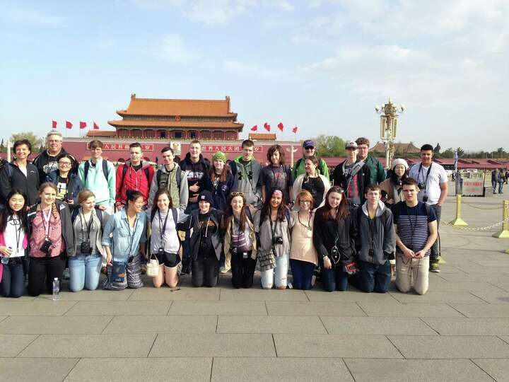 Tech Valley High School students visit Tiananmen Square in Beijing during their April trip. (Submitt