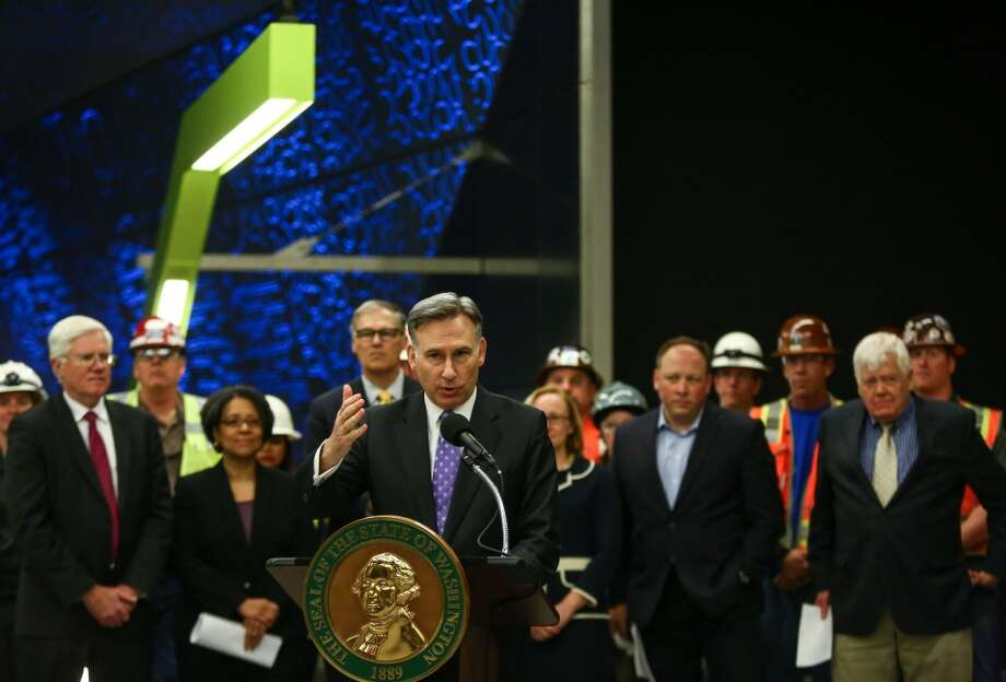 King County Executive Dow Constantine has put his political fortunes on the rails. He was a champion of the Sound Transit 3 light rail package, which has boosted sales taxes, property taxes and -- steeply -- car tab fees. Here, Constantine speaks during a tour of Sound Transit's University of Washington Station on Friday, April 17, 2015. (Joshua Trujillo, seattlepi.com) Photo: SEATTLEPI.COM