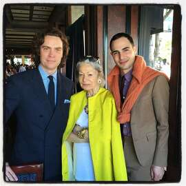 Town & Country Editor Jay Fielden (at left) with Denise Hale and designer Zac Posen at Boulevard Restaurant. April 2015. By Catherine Bigelow.