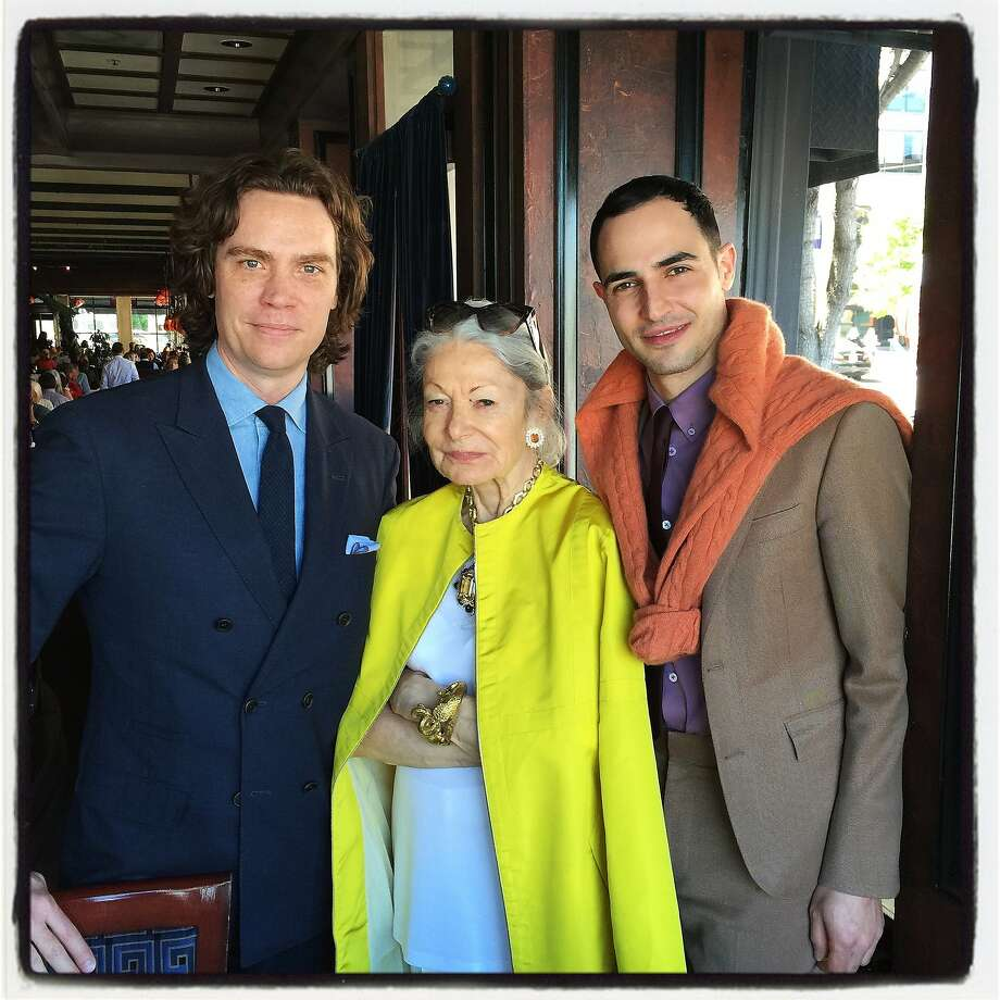 Town & Country Editor in Chief Jay Fielden (left), Denise Hale  and designer Zac Posen attend lunch at Boulevard Restaurant. Photo: Catherine Bigelow, Special To The Chronicle