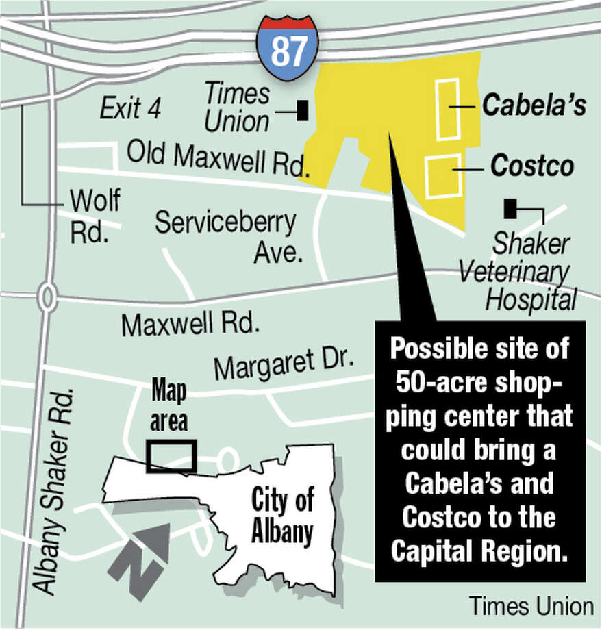 Possible site of 50-acre shopping center that could bring a Cabela?s and Costco to the Capital Region. Photo: Carin Lane