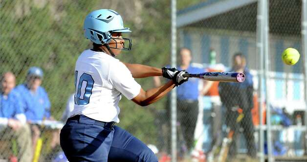 Columbia's Samara Perry connects with the ball during their softball game against Saratoga on Friday, April 17, 2015, at Columbia High in East Greenbush, N.Y. (Cindy Schultz / Times Union) Photo: Cindy Schultz / 00031476A
