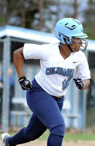 Columbia's Samara Perry runs to firstl during their softball game against Saratoga on Friday, April 17, 2015, at Columbia High in East Greenbush, N.Y. (Cindy Schultz / Times Union) Photo: Cindy Schultz / 00031476A