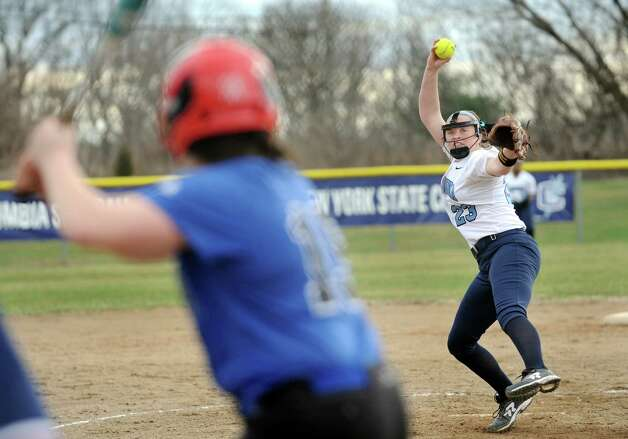 Columbia's pitcher Maddie Burns, right, winds up during their softball game against Saratoga on Friday, April 17, 2015, at Columbia High in East Greenbush, N.Y. (Cindy Schultz / Times Union) Photo: Cindy Schultz / 00031476A
