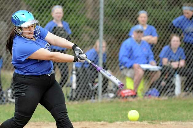 Saratoga's McKenzie Ebert bats during their softball game against Columbia on Friday, April 17, 2015, at Columbia High in East Greenbush, N.Y. (Cindy Schultz / Times Union) Photo: Cindy Schultz / 00031476A