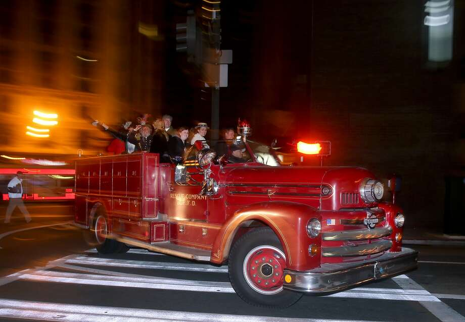 Historical fire trucks are part of the annual event to commemorate the 109th anniversary of the 1906 earthquake at Lotta's Fountain in San Francisco, Calif. on Saturday, April 18, 2015. Photo: Paul Chinn, The Chronicle