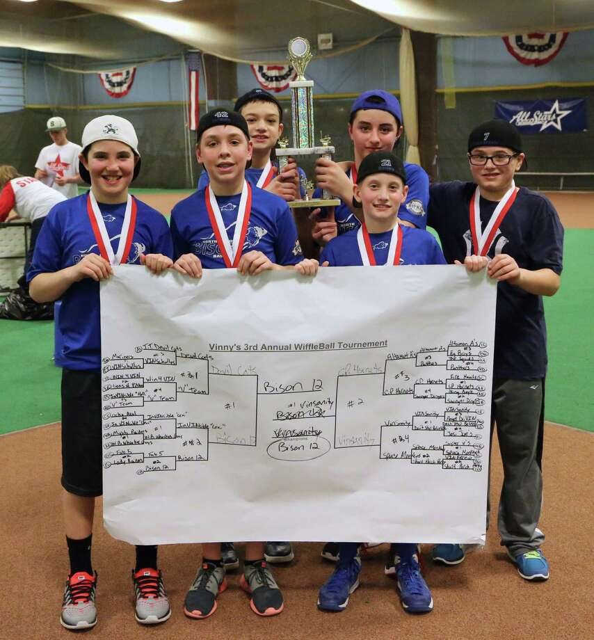 The Bison 12 was the winning team of the 3rd annual Vincenzo Rizzo wiffle ball tournament. Team members are, from left: Alex Moisidis, Jake Daniels, Jayson Treffeletti, Robert Fratangelo, John Graney and Kevin Cozzolino.