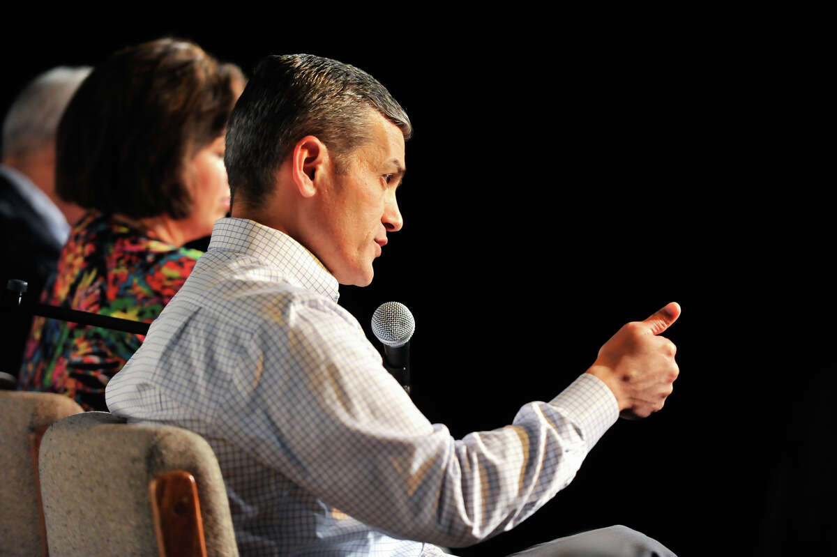 Mayoral candidate Mike Villareal makes a point during a Mayoral Forum at the Esperanza Peace and Justice Center Saturday. Also participating were Leticia Van de Putte, Tommy Adkisson, and Rhett Smith. Mayor Ivy Taylor did not attend.