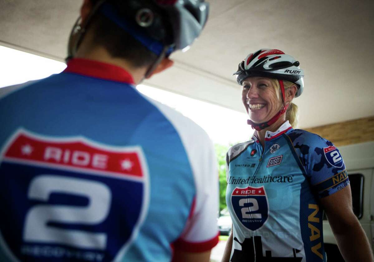 Jen Goodbody, 42, right, shares a laugh with fellow Ride 2 Recovery cyclist Lori Kelley. Goodbody, an Army veteran from California, believes that cycling helped her recover from a severe depression during and after her military stint.