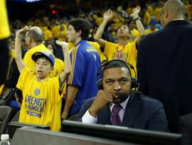 Former Golden State Warriors' head coach Mark Jackson was part of ESPN broadcasting team during Warriors' 106-99 win over New Orleans Pelicans in Game 1 of the 1st Round of NBA Western Conference Playoffs at Oracle Arena in Oakland, Calif., on Saturday, April 18, 2015.