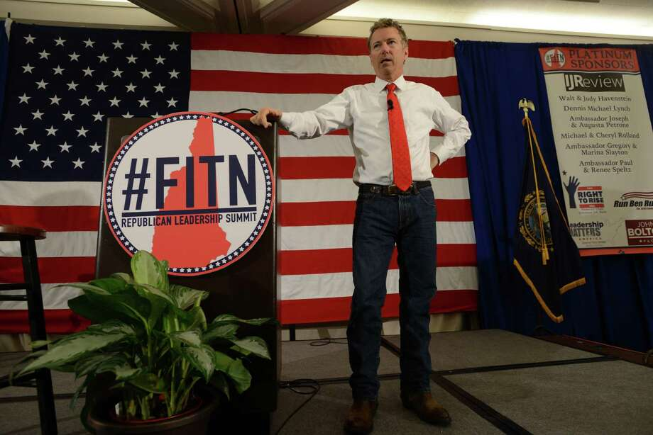 NASHUA, NH - APRIL 18: U.S. Sen. Rand Paul (R-KY) speaks at the First in the Nation Republican Leadership Summit April 18, 2015 in Nashua, New Hampshire. The Summit  brought together local and national Republicans and was attended by all the Republicans candidates as well as those eyeing a run for the nomination. (Photo by Darren McCollester/Getty Images) ORG XMIT: 546315929 Photo: Darren McCollester / 2015 Getty Images