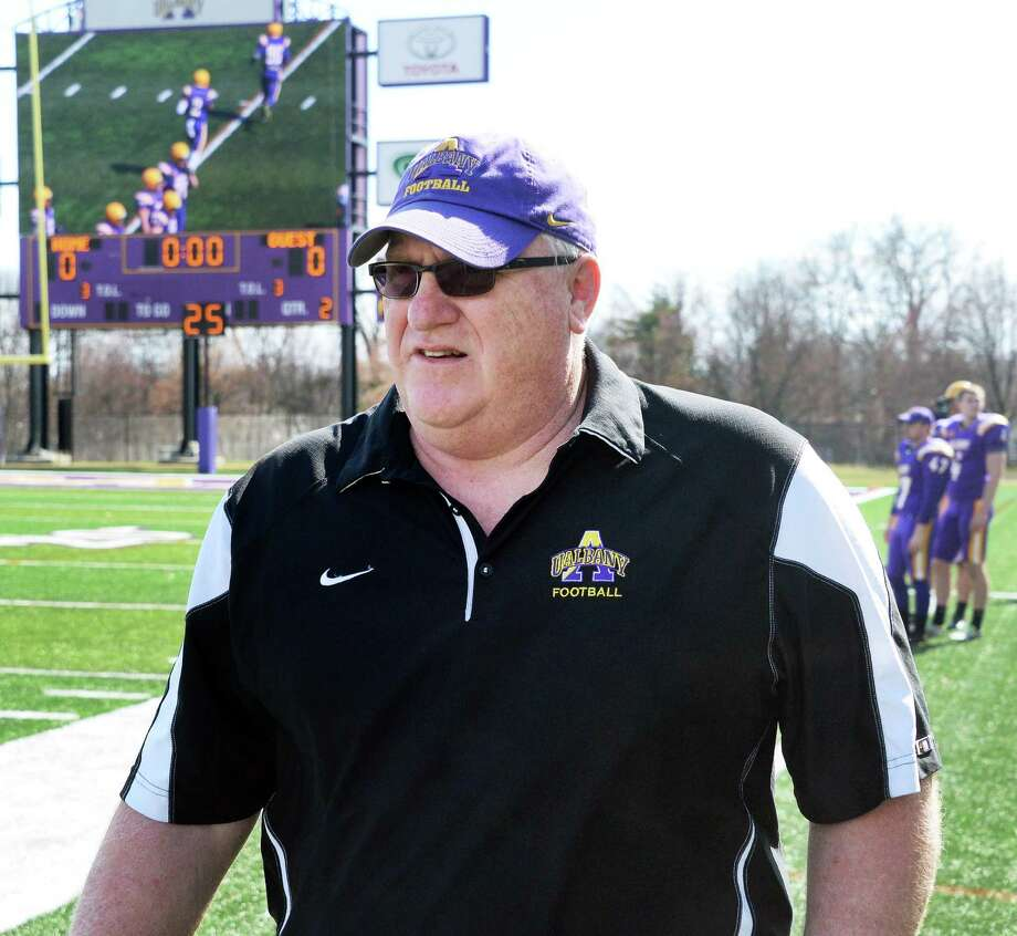 Head coach Greg Gattuso on the sidelines as UAlbany football holds its Spring Game Saturday April 18, 2015 in Albany, NY.  (John Carl D'Annibale / Times Union) Photo: John Carl D'Annibale / 00031485A