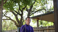 Zachariah Moccia, 24, swings in his backyard Friday April 3, 2015. Zach started having seizures at the age of two months, and is diagnosed with Dravet Syndrome. The non-euphoric cannabidiol oil has proven to treat intractable seizures, and Leslie hopes with the passing of the Texas Compassionate Use Act, House Bill 892 and Senate Bill 339, that Zach can soon receive the same help.