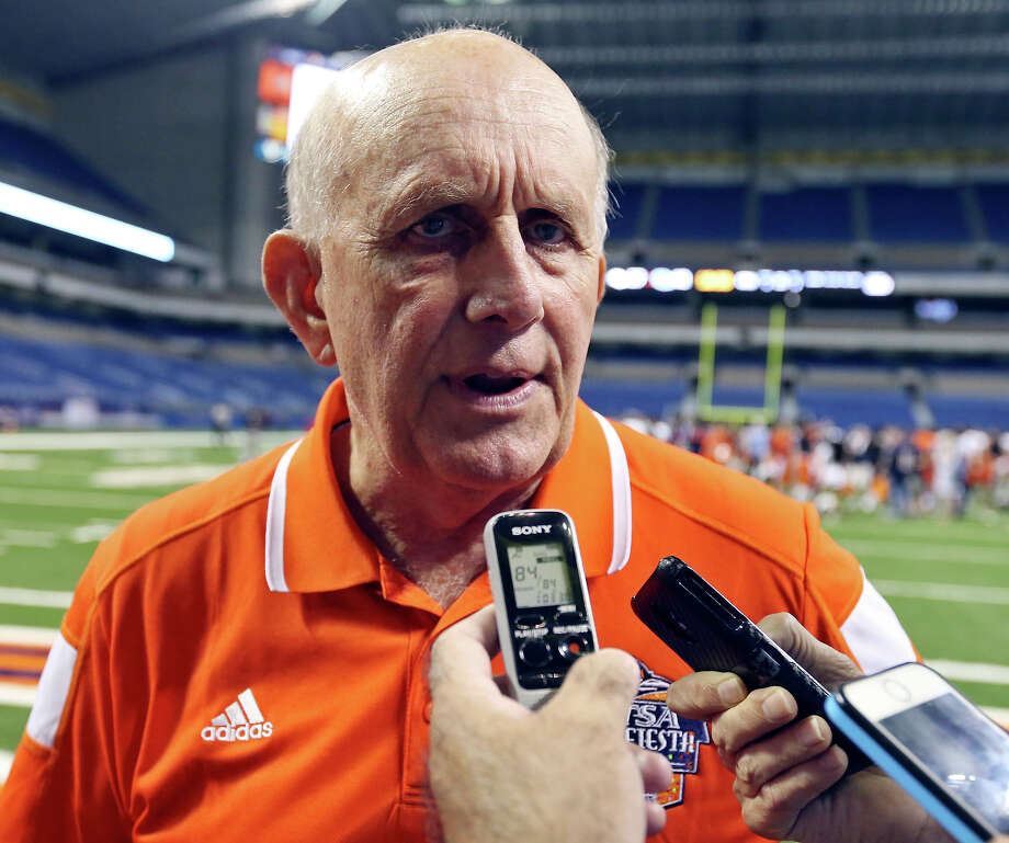 UTSA head coach Larry Coker answers questions from the media after the team's Football Fiesta Spring Game on April 18, 2015 at the Alamodome. Photo: Edward A. Ornelas /San Antonio Express-News / © 2015 San Antonio Express-News