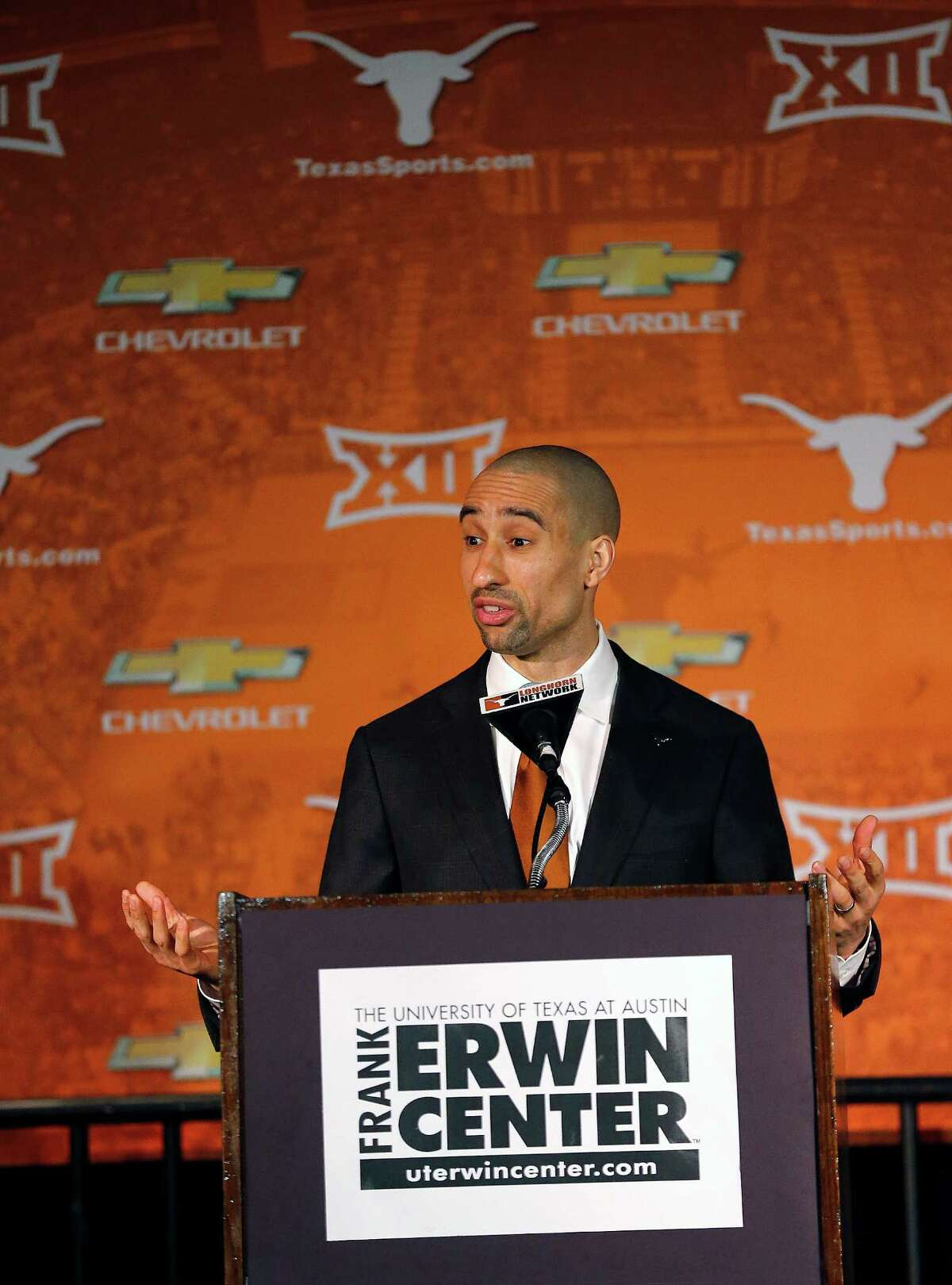 Texas Longhorns new men's basketball head coach Shaka Smart speaks during a press conference Friday April 3, 2015 at the Frank Erwin Center in Austin, TX.