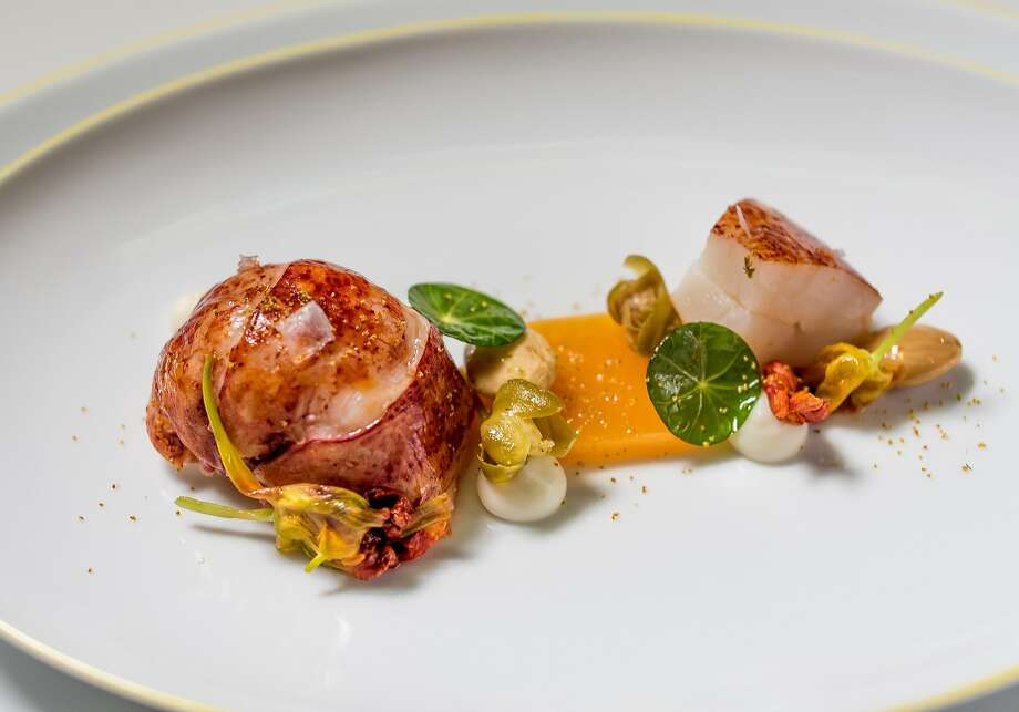 Sweet butter poached Maine lobster with garden nasturtiums at the French Laundry in Yountville, Calif., is seen on April 17th, 2015. Photo: John Storey, Special To The Chronicle