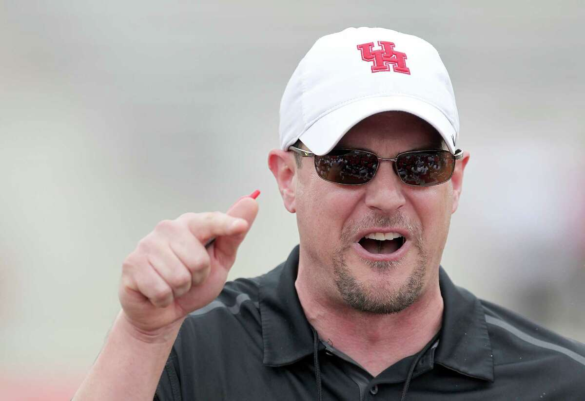 UH head coach Tom Herman gets his players motivated before the Spring Red and White game on April 18, 2015 at TDECU Stadium in Houston, TX. White won 24 to 11.