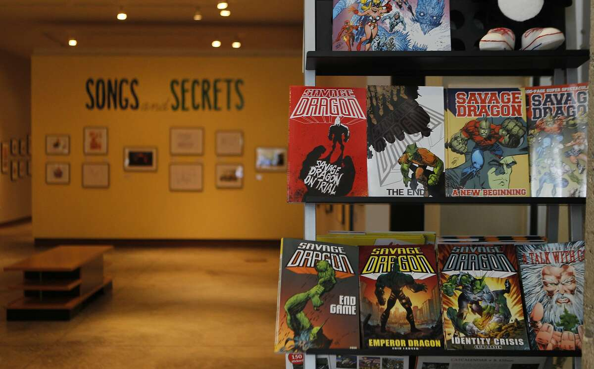 Comic books sit at the entrance of the main gallery at the Cartoon Art Museum in the South of Market district of San Francisco, Calif. Saturday, April 18, 2015.
