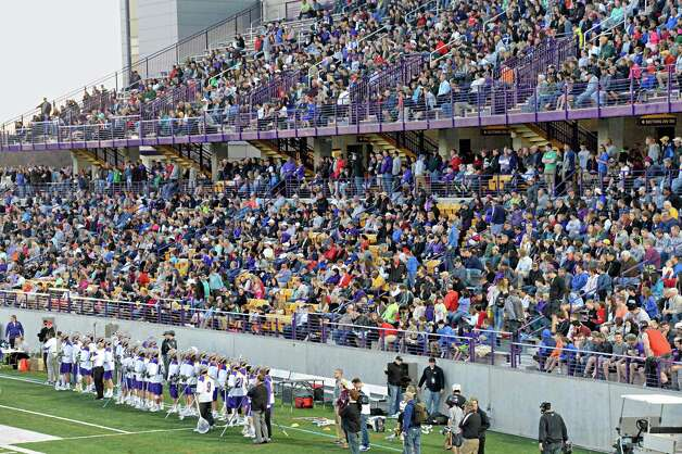 UAlbany fans crowd Bob Ford Field for Saturday's lacrosse game against Yale April 18, 2015 in Albany, NY.  (John Carl D'Annibale / Times Union) Photo: John Carl D'Annibale / 00031486A
