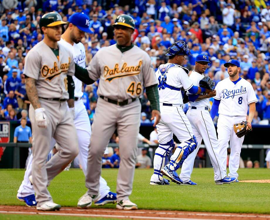 KANSAS CITY, MO - APRIL 18:  Brett Lawrie #15 of the Oakland Athletics walks toward first base after being hit by a pitch by pitcher Yordano Ventura #30 of the Kansas City Royals during the 4th inning of the game against the Kansas City Royals at Kauffman Stadium on April 18, 2015 in Kansas City, Missouri.  (Photo by Jamie Squire/Getty Images) Photo: Jamie Squire, Getty Images