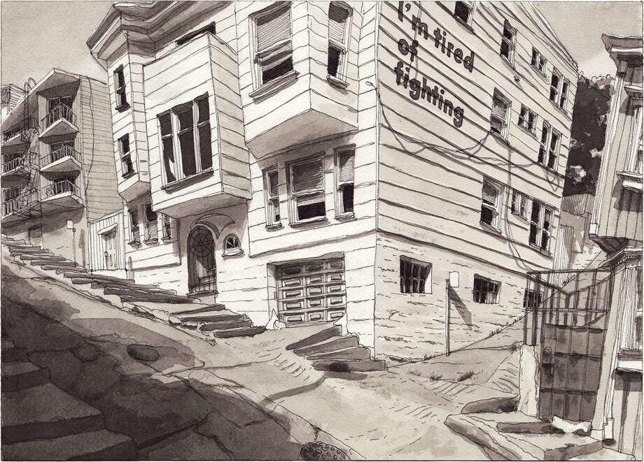 April 19, 2015. Drawn from Kearny Street, North Beach, San Francisco. E-mail: coffee@paulmadonna.com