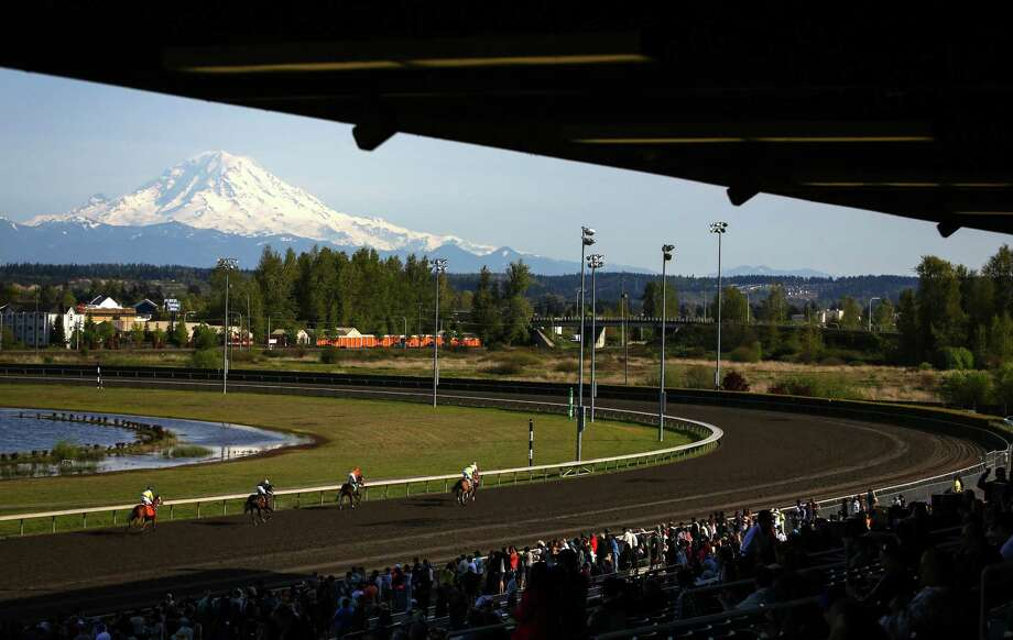 Horses run during the opening day of the 20th Emerald Downs racing season on Saturday, April 18, 2015. The local racing season kicked off at the track in Auburn with a crystal clear view of Mount Rainier as a backdrop. Photo: JOSHUA TRUJILLO, SEATTLEPI.COM / SEATTLEPI.COM