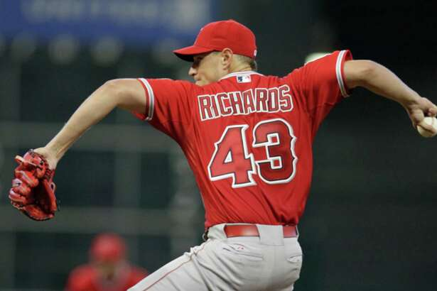 Los Angeles Angels Garrett Richards pitches against the Houston Astros during third inning of game at Minute Maid Park Sunday, April 19, 2015, in Houston.