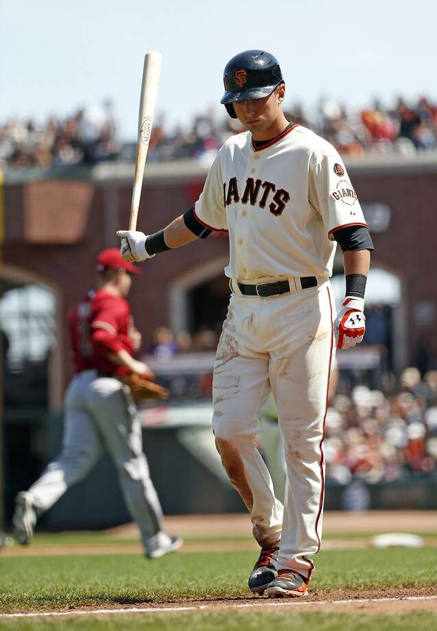 San Francisco Giants' Joe Panik reacts to lining out to end 5th inning against Arizona Diamondbacks during MLB game at AT&T Park in San Francisco, Calif., on Sunday, April 19, 2015. Photo: Scott Strazzante, The Chronicle