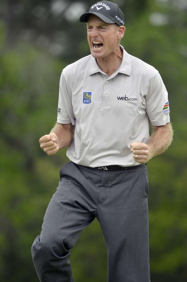 Jim Furyk celebrates after making his putt in the sudden death playoff against Kevin Kisner on the green on the 17th hole during the final round of the RBC Heritage Presented by Boeing on Sunday, April 19, 2015, at Harbour Town Golf Links on Hilton Head Island, S.C. (Delayna Earley/The Island Packet/TNS) Photo: Delayna Earley, McClatchy-Tribune News Service