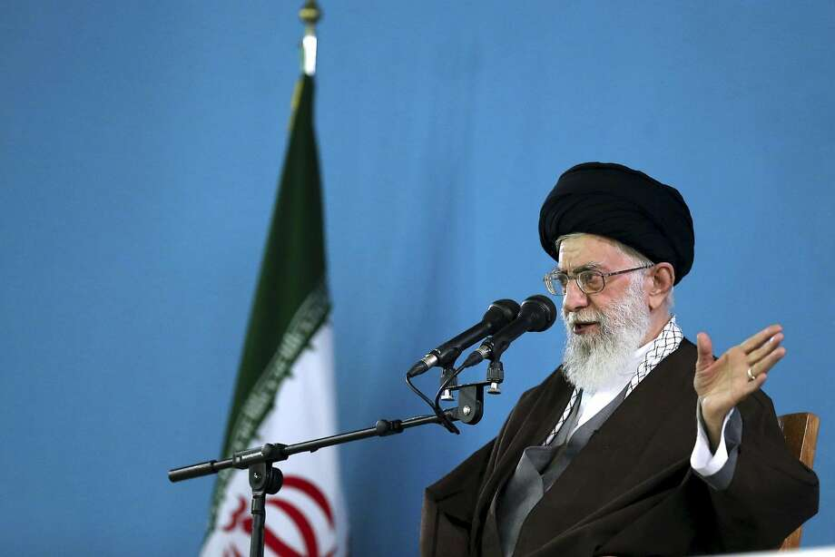 """In this photo released by an official website of the office of the Iranian Supreme Leader on Sunday, April 19, 2015, Supreme Leader Ayatollah Ali Khamenei addresses military commanders in Tehran, Iran. Iran's Supreme Leader Ayatollah Ali Khamenei called """"myth"""" claims by the U.S. and some of its allies that Iran is seeking to develop nuclear weapons capability. Khamenei's remarks are seen as an effort by Iran to toughen its position ahead of the next round of nuclear talks. (Office of the Iranian Supreme Leader via AP) Photo: Uncredited, Associated Press"""